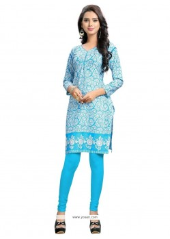 Magnetic Cotton Blue Print Work Party Wear Kurti