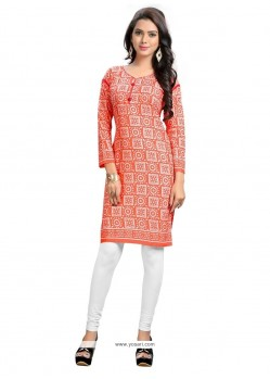 Majestic Cotton Orange Print Work Party Wear Kurti