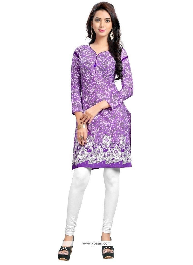Purple Cotton Party Wear Kurti