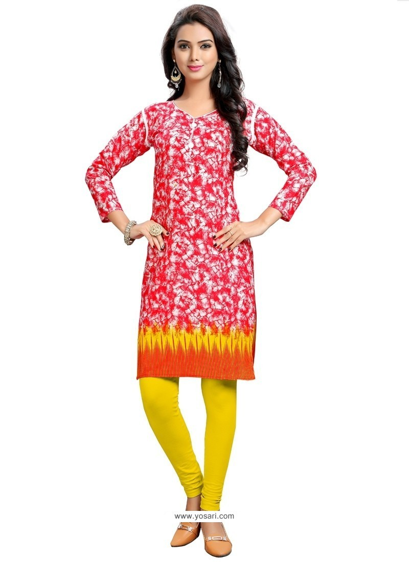 Breathtaking Print Work Red Party Wear Kurti