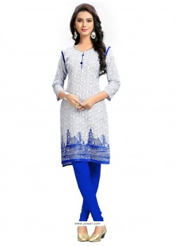 Sonorous Off White Print Work Cotton Party Wear Kurti