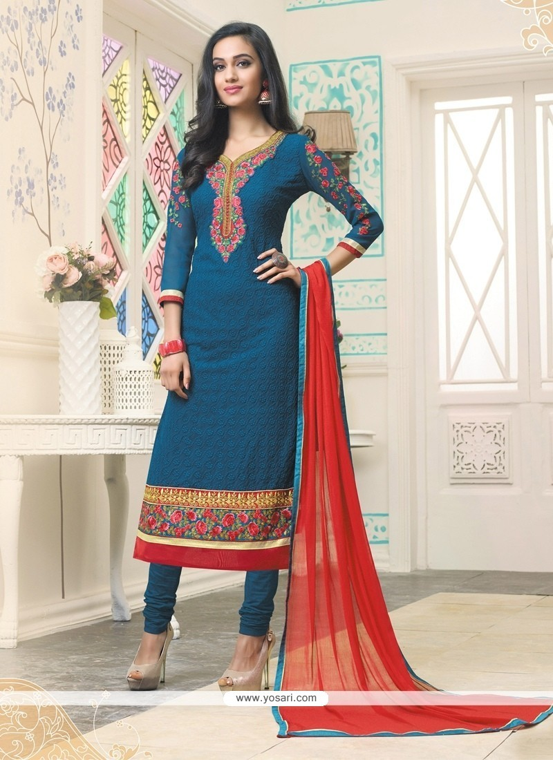 Glamorous Resham Work Georgette Churidar Designer Suit