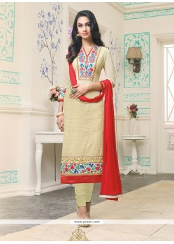 Imposing Cream Resham Work Churidar Designer Suit