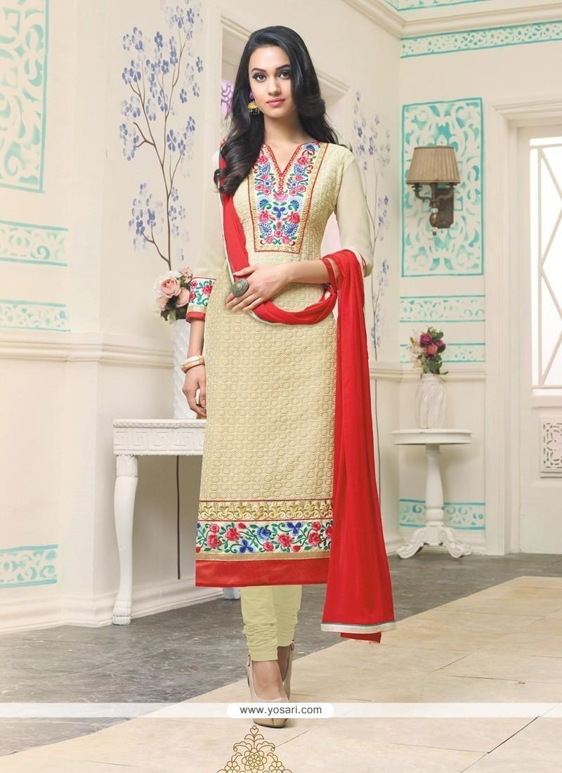Imposing Cream Resham Work Churidar Designer Suit