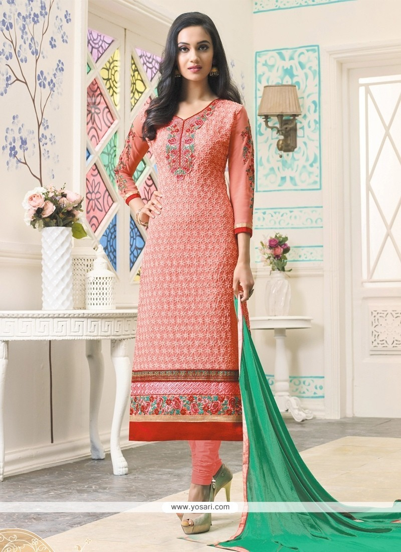 Modernistic Peach Georgette Churidar Designer Suit