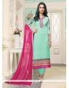 Resham Georgette Churidar Designer Suit In Sea Green