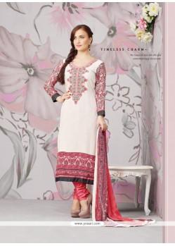 Elli Avram White Embroidery Churidar Suit