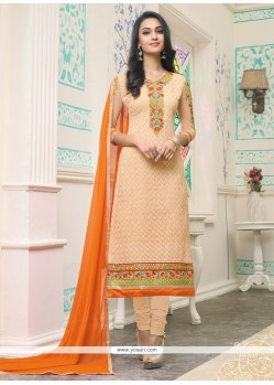 Nice Orange Embroidered Work Georgette Churidar Designer Suit