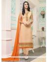 Nice Orange Embroidered Work Georgette Churidar Designer Suit