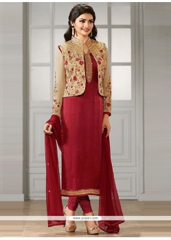 Prachi Desai Georgette Lace Work Churidar Designer Suit