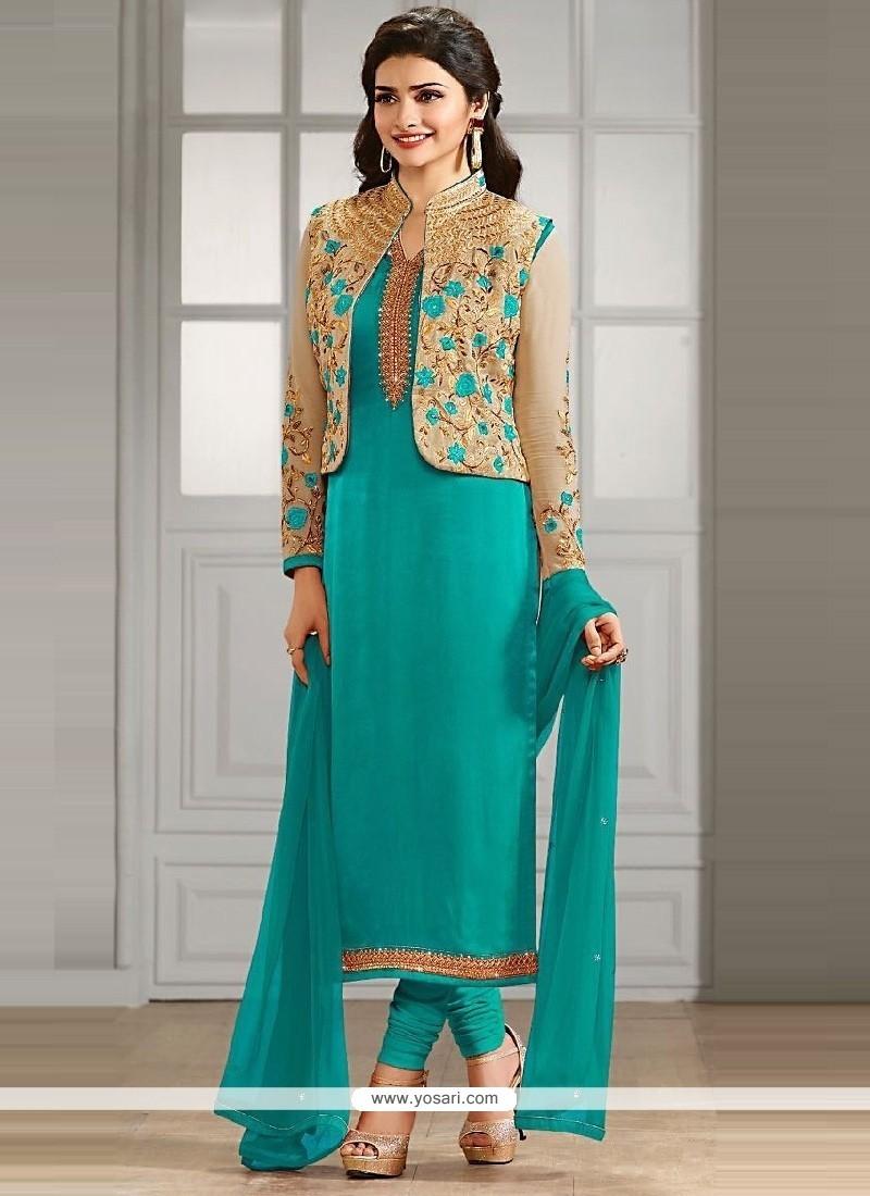 Prachi Desai Sea Green Churidar Designer Suit