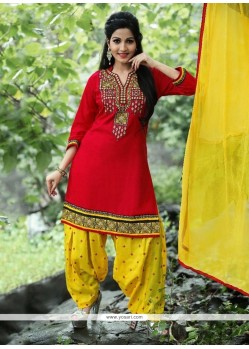 Baronial Cotton Red Punjabi Suit