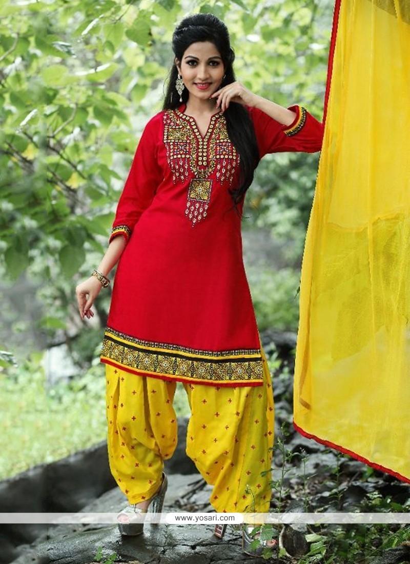 Baronial Cotton Red Punjabi Suit