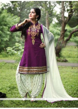 Perfect Purple Embroidered Work Cotton Punjabi Suit