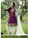Perfect Purple Embroidered Work Cotton Punjabi Suit