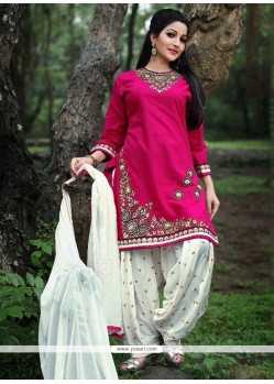 Impeccable Embroidered Work Cotton Punjabi Suit