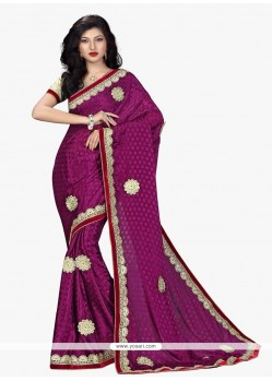 Delightful Patch Border Work Magenta Faux Chiffon Traditional Saree