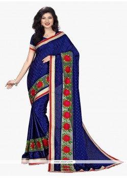 Navy Blue Patch Border Work Faux Chiffon Classic Saree