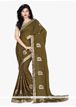 Invaluable Green Patch Border Work Faux Chiffon Classic Saree