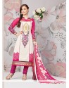 Elli Avram White And Pink Crape Churidar Salwar Kameez