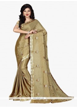 Beckoning Faux Crepe Beige Embroidered Work Classic Saree