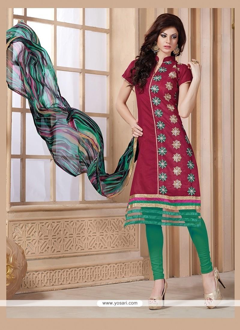 Aesthetic Magenta Embroidered Work Chanderi Churidar Designer Suit