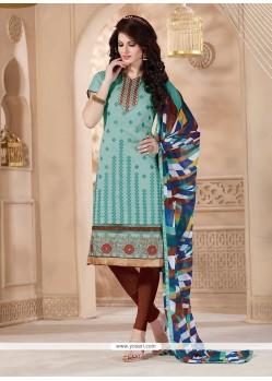 Sorcerous Turquoise Churidar Designer Suit