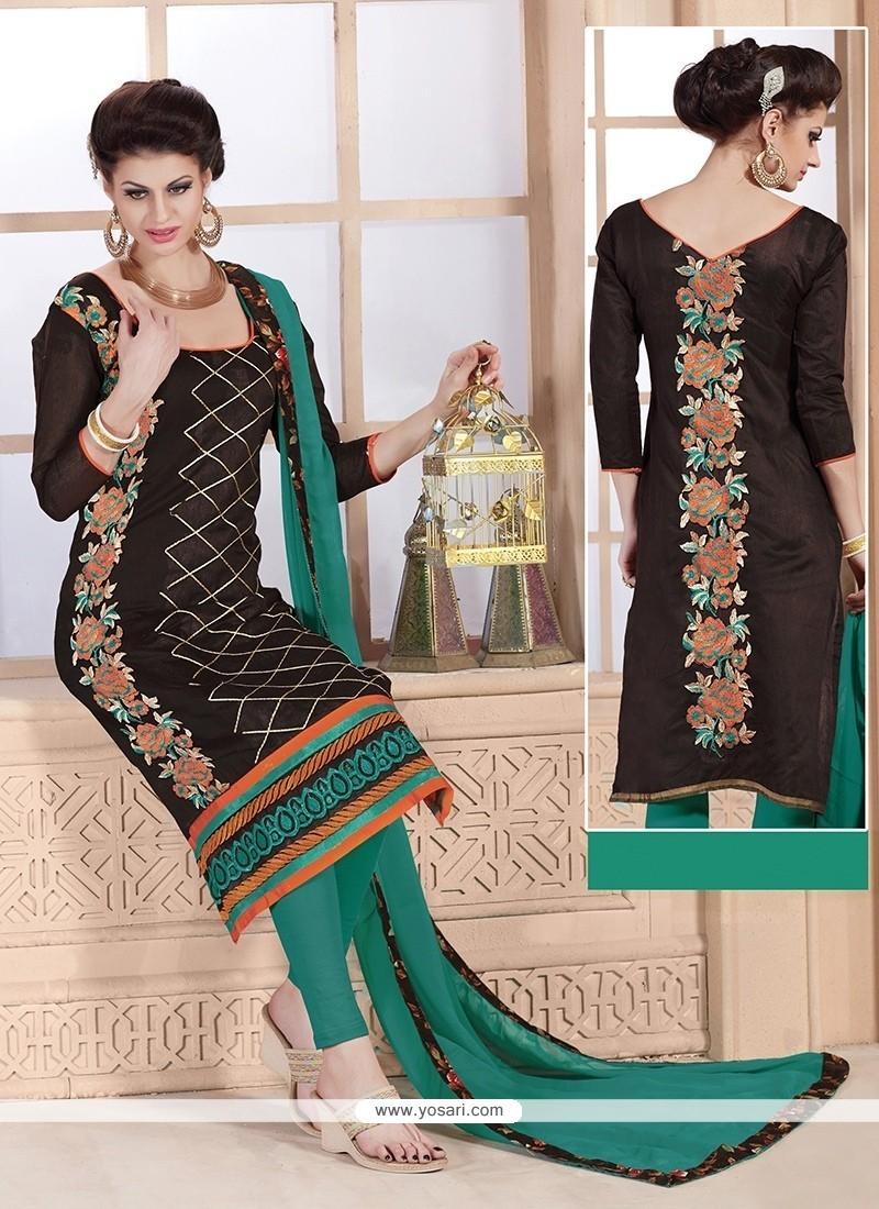 Entrancing Embroidered Work Brown Churidar Designer Suit