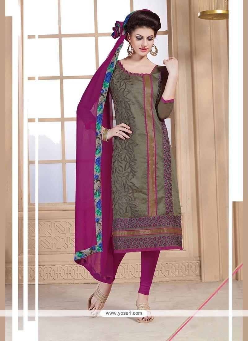 Dainty Beige And Magenta Embroidered Work Chanderi Churidar Designer Suit