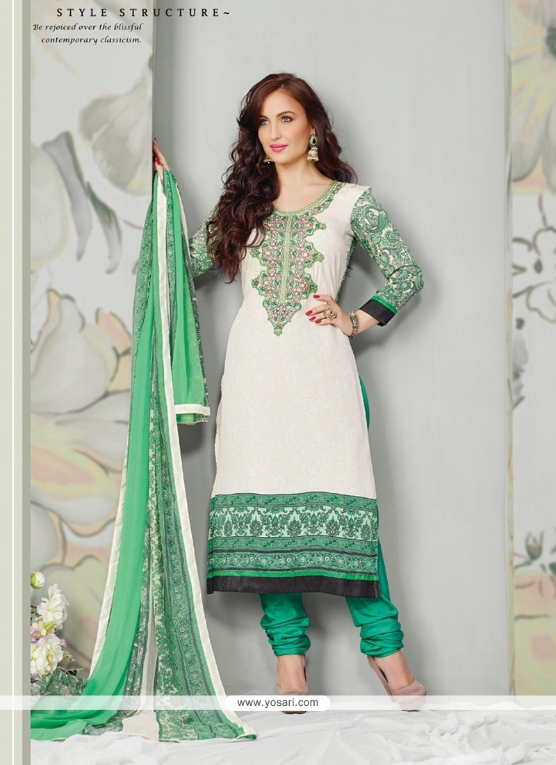 Elli Avram Off White And Green Crape Churidar Suit