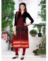 Stylish Embroidered Work Cotton Black And Red Churidar Designer Suit
