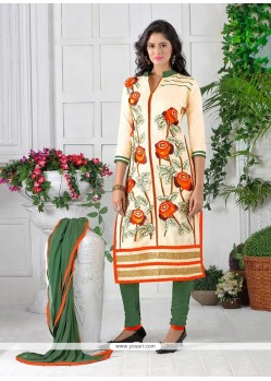 Entrancing Embroidered Work Cotton Churidar Designer Suit