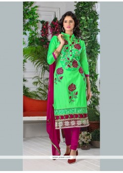 Orphic Cotton Green Embroidered Work Churidar Designer Suit