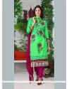 Orphic Cotton Green Embroidered Work Churidar Designer Suit