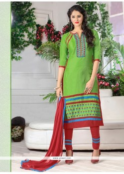 Fantastic Embroidered Work Green Cotton Churidar Designer Suit