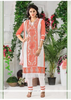Orange Cotton Churidar Designer Suit