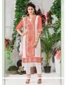 Orange Cotton Churidar Designer Suit