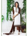 Invigorating Brown And Off White Embroidered Work Churidar Designer Suit