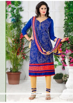Especial Cotton Embroidered Work Churidar Designer Suit