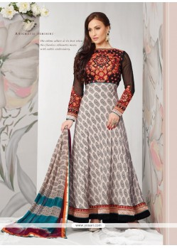 Elli Avram Off White And Black Embroidery Anarkali Suit