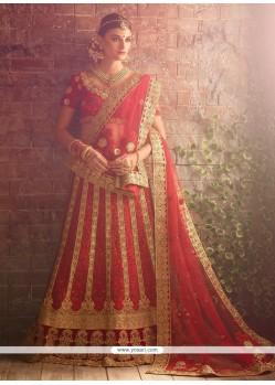 Picturesque Red A Line Lehenga Choli