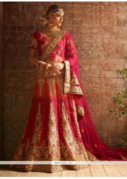 Distinctively Patch Border Work Hot Pink A Line Lehenga Choli