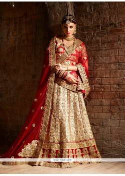 Perfervid Resham Work Red And Beige A Line Lehenga Choli