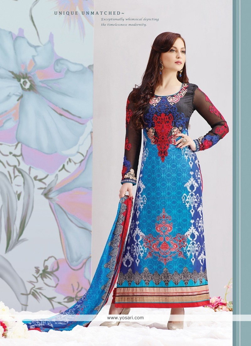 Buy Elli Avram Blue Crape Churidar Salwar Kameez | Suit | indian Suit