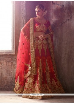 Immaculate Embroidered Work Raw Silk A Line Lehenga Choli