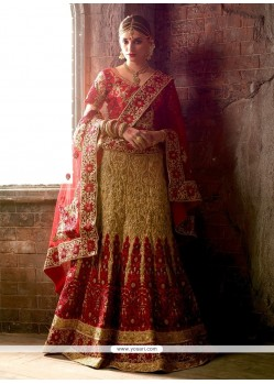 Delectable Raw Silk Red And Beige Resham Work A Line Lehenga Choli