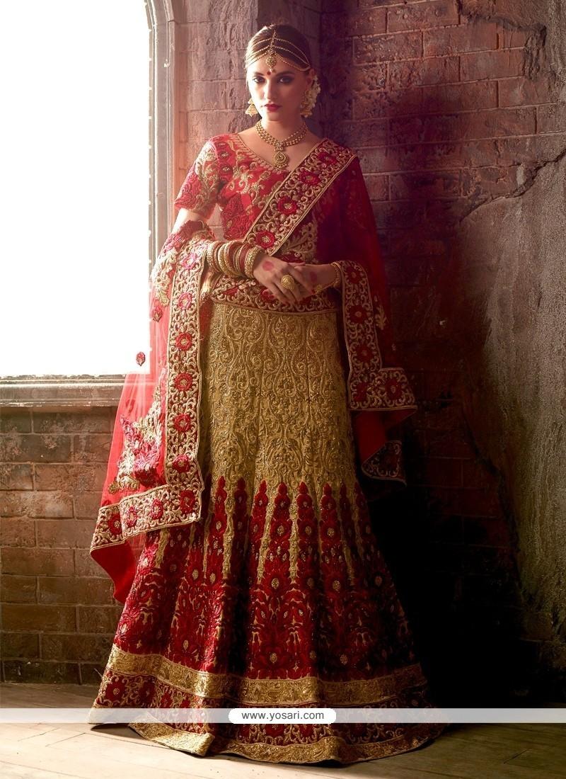 Delectable Raw Silk Red And Beige Resham Work A Line Lehenga Choli