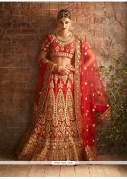 Marvelous Red Resham Work Raw Silk A Line Lehenga Choli
