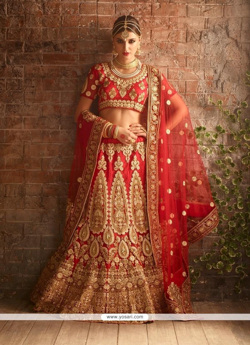 Marvelous Red Resham Work Raw Silk A Line Lehenga Choli