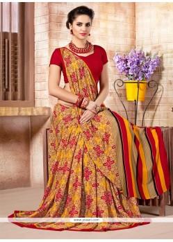 Renowned Print Work Multi Colour Casual Saree